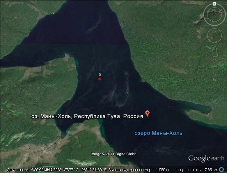 Точное место падения вертолета Красная точка в озере Маныхоль