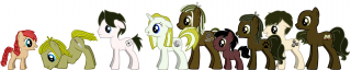the main cast of 'Hiraeth'... imagined as ponies.