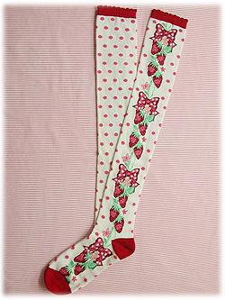 AP Polka Dot Strawberry Socks in Red