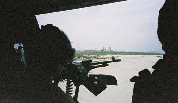 The view from a British military helicopter over southern Iraq, March 2004