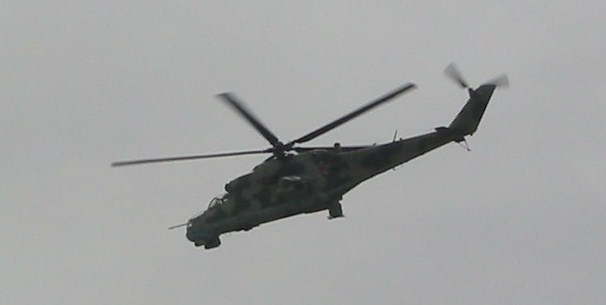 A Russian helicopter gunship in the North Caucasus, April 2008
