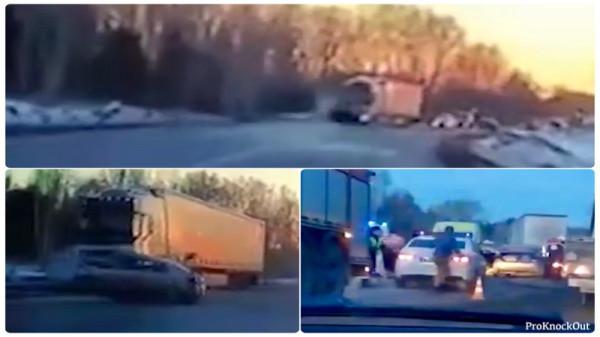 Страшные кадры ДТП. Грузовик, легковушка и 5 жертв(Видео)