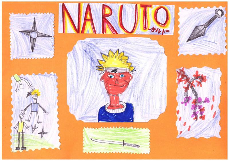 ...и Наруто из аниме, которого он нарисовал уже дома