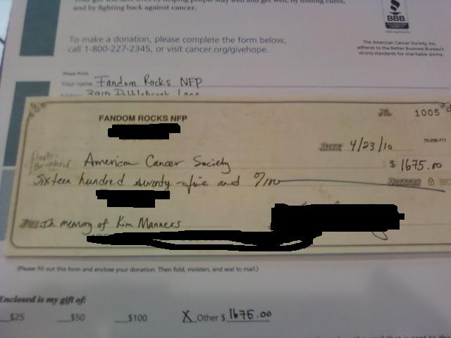 Campaign Five Donation to the American Cancer Society.