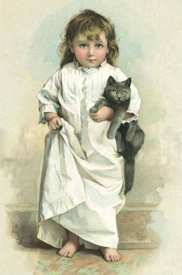Дети с кошками открытки