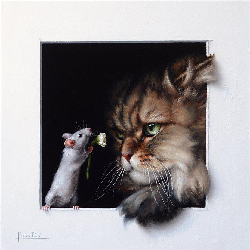 розпис картинки для декупажа кот и мыши который пошел стопам