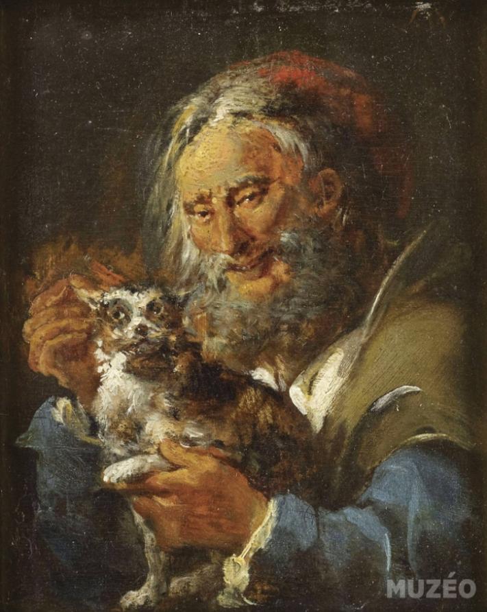 Результат изображения для Ватто Лилль «Старик с котом», 2016