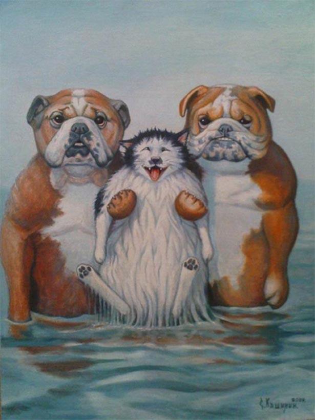Картинка выздоравливай, смешные рисунки собак и котов