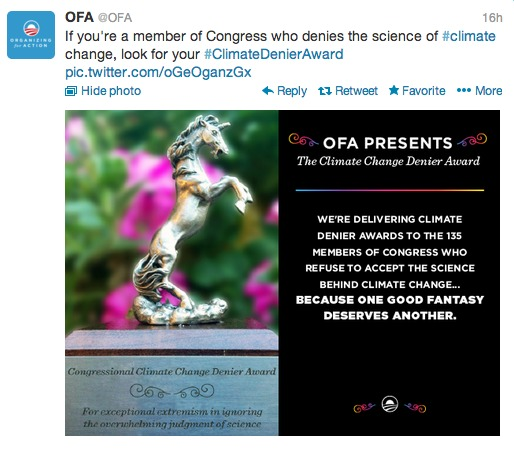 ofa climate change denier award, presented to 135 congress members 8-13-13