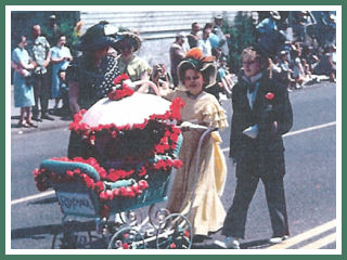Carol and Nancy and their winning entry - 1951 Junior Parade