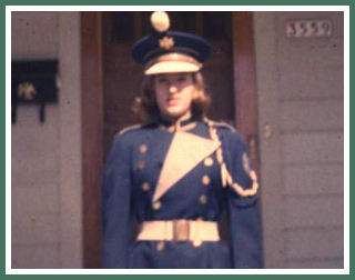 Sue in her high school band uniform