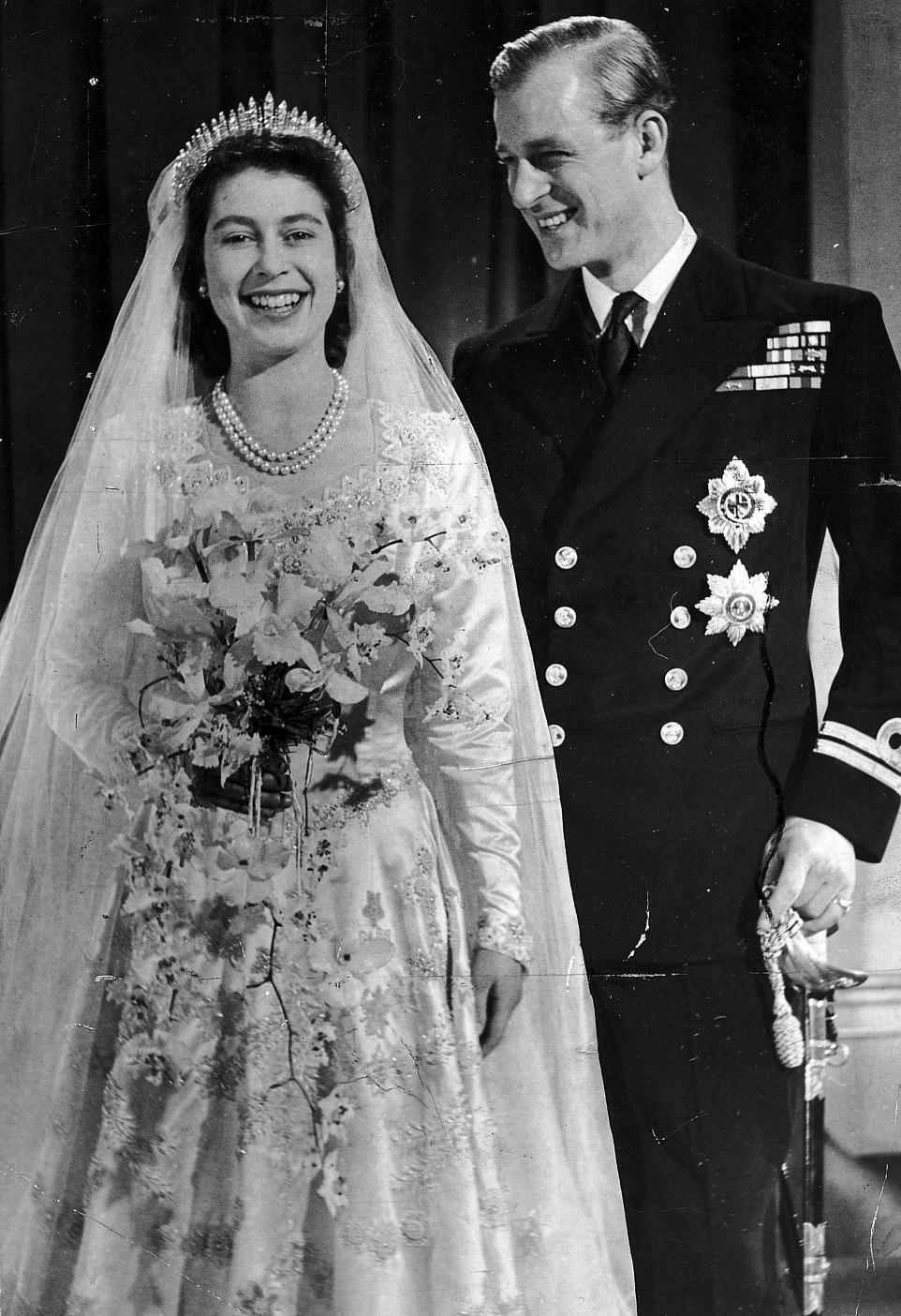 Свадебное фото принцессы Елизаветы и герцога Эдинбургского, 1947 г