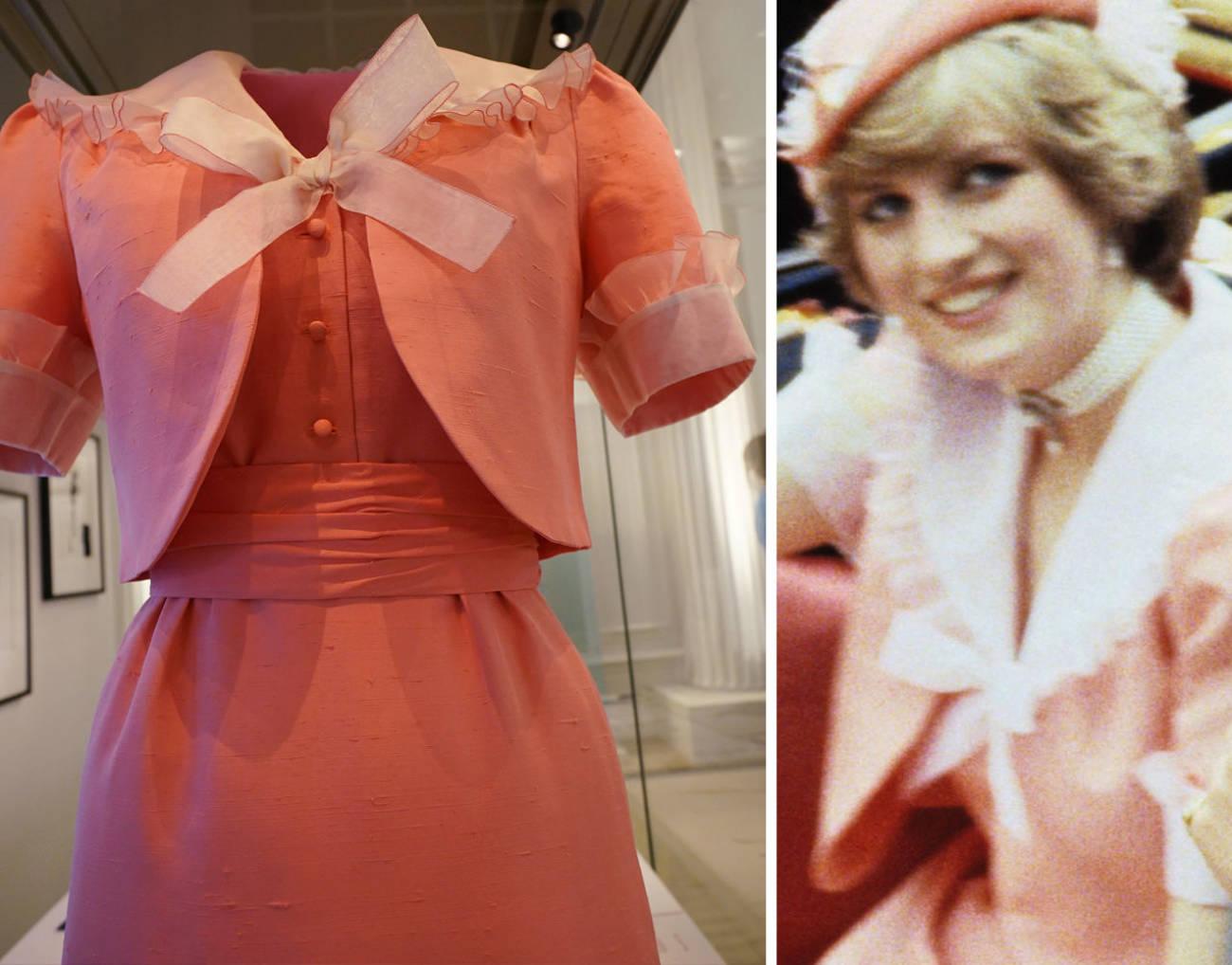 Платье Дианы для медового месяца, в модном в 80-х  г абрикосовом тоне...