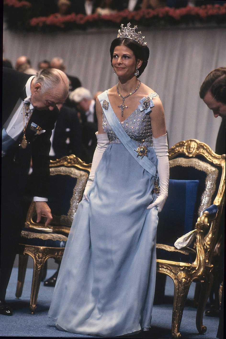 1979 - платье из голубого шёлка, созданное Elisabeth Wondrake