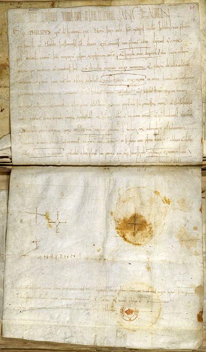 Грамота Филиппа I, подтверждающая право аббатства свв. Криспина и Криспиниана обладать алтарями в Пернане и Коломбе, с автографической подписью его матери, королевы Анны. Суассон, 1063 г, Национальная библиотека Франции