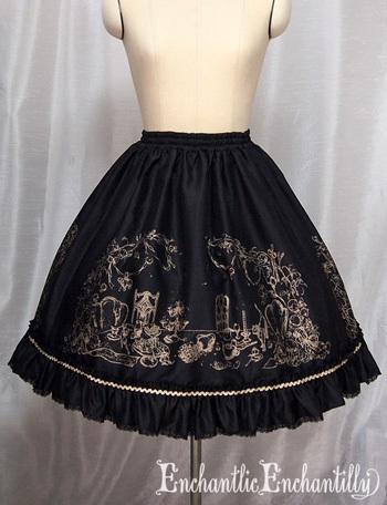 aChantilly After Tea Party Skirt black x gold