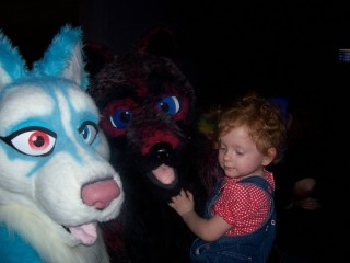Regina with Chillswitch(blue) and GreyFur, a couple of local friends, at fursuit bowling