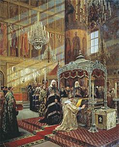 Алексей Михайлович и Никон перед гробницей святителя Филиппа. А. Д. Литовченко, 1886