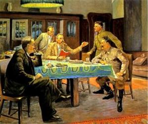Виктор Говоров. А.М. Горький читает Сталину, Молотову и Ворошилову свою сказку «Девушка и смерть»