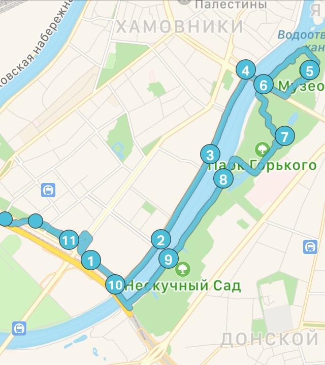 Основной маршрут: от станции МЦК «Лужники» и обратно.
