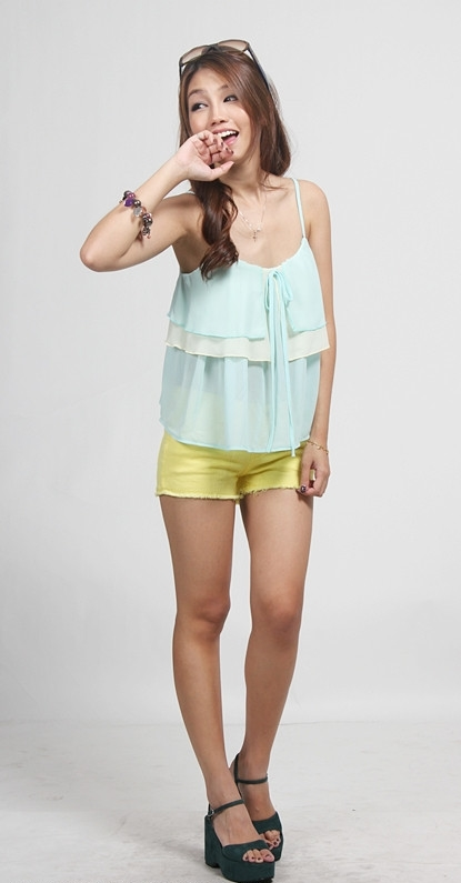 Flip-Flap Tie Strings Top ( Breeze Mint White )
