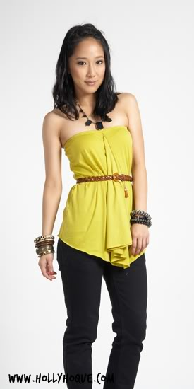HH Gathered Waterfall Tube Top ( Lime ) $22.50