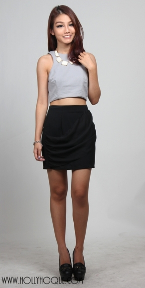 Urban Romance Drape Skirt ( Black ) $24.50