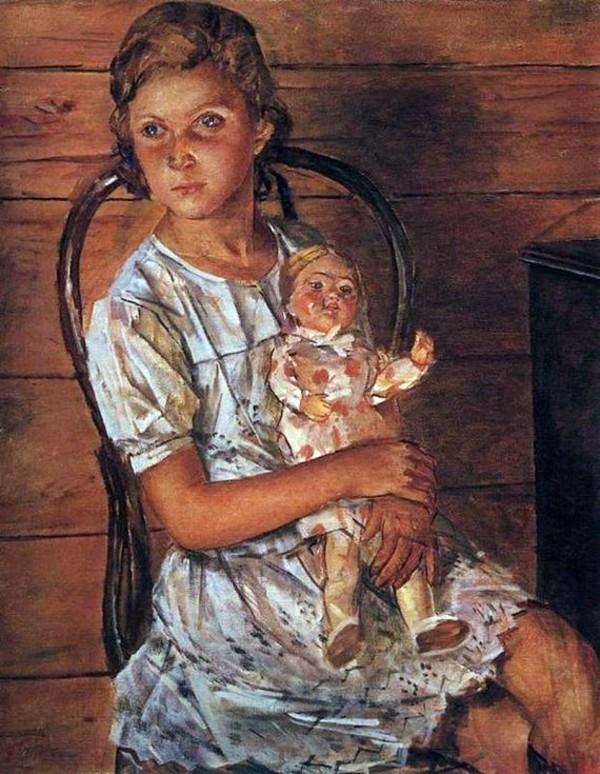Петров-Водкин - Девочка с куклой (Портрет Татули).jpg