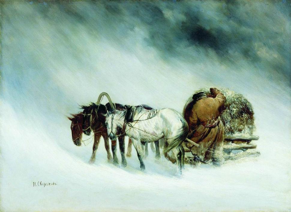Сверчков Николай Егорович - (1817 - 1898) - В метель.jpg