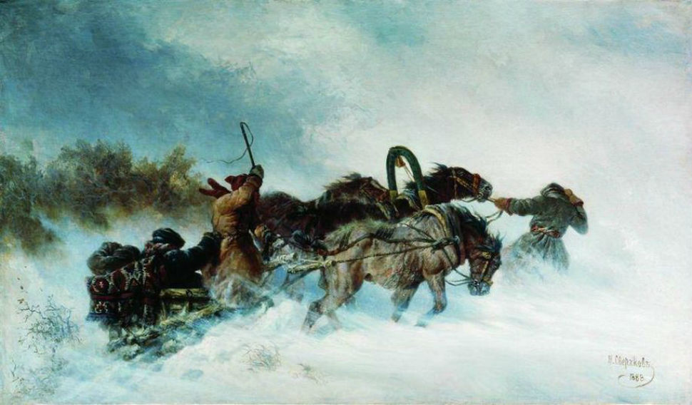 Сверчков Николай Егорович - (1817 - 1898) - Тройка зимой - 1888.jpg