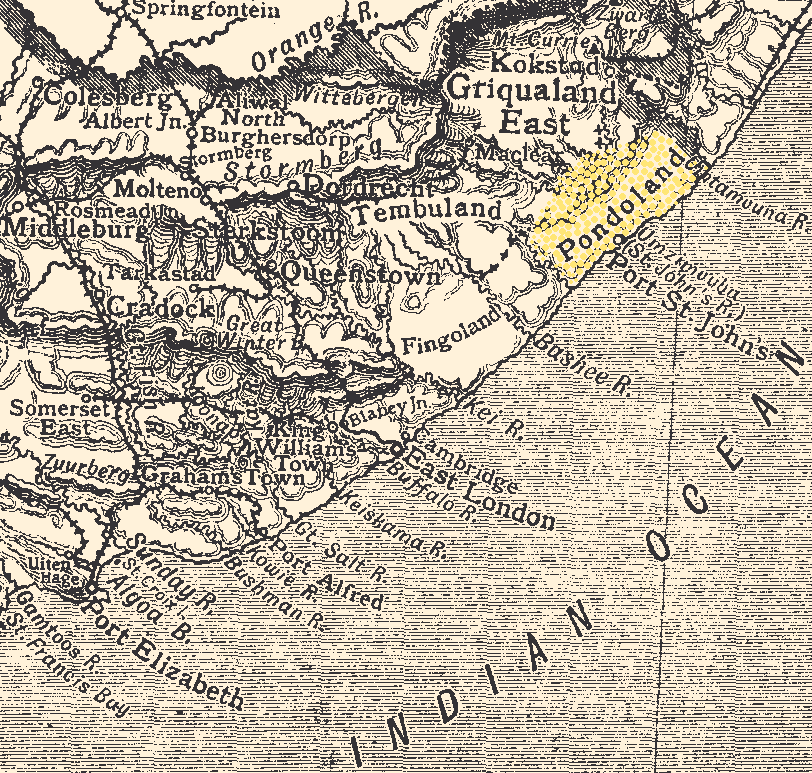 карта Пондоленд Pondoland_-_Eastern_Cape_Map_-_1911