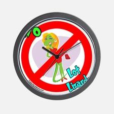 lot_lizard_warning_sign_wall_clock