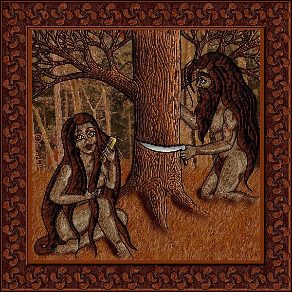 арт мифы баски Basajaun басахаун и его спутница, базандера 2