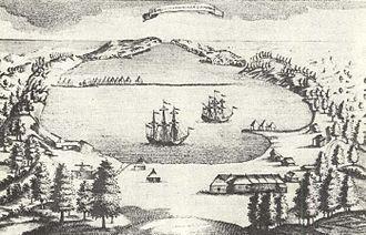Авачинская бухта, Петропавловск-Камчатский с гравюры 18-го века.