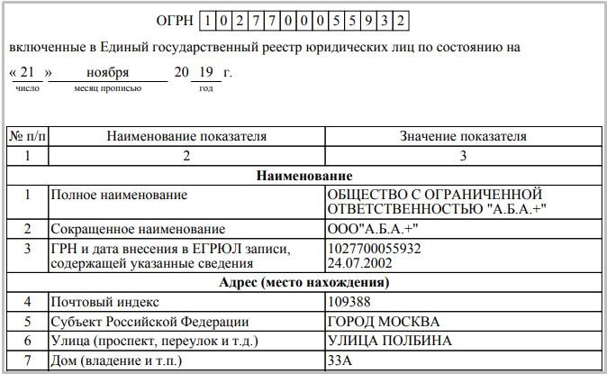 Скриншот выписки Единого государственного реестра юридических лиц