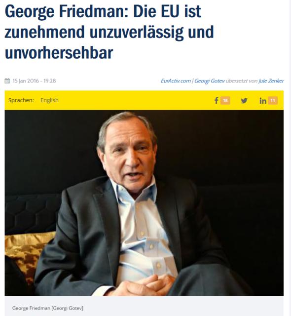 Фридман, интервью Евроактиву, январь 2016