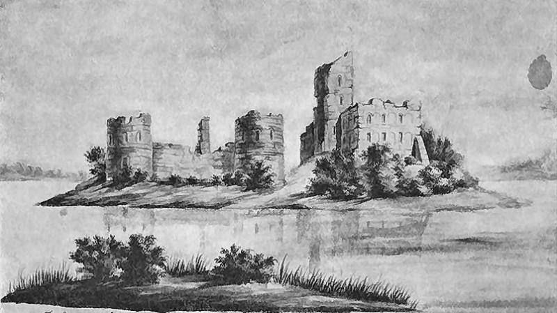 Так художники конца XIX века изображали руины некогда неприступной Тракайской крепости
