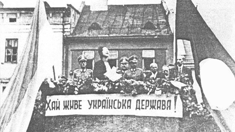 Украинский митинг на рынке Перемышля в 1941 году / Фото: kresywekrwi.neon24.pl
