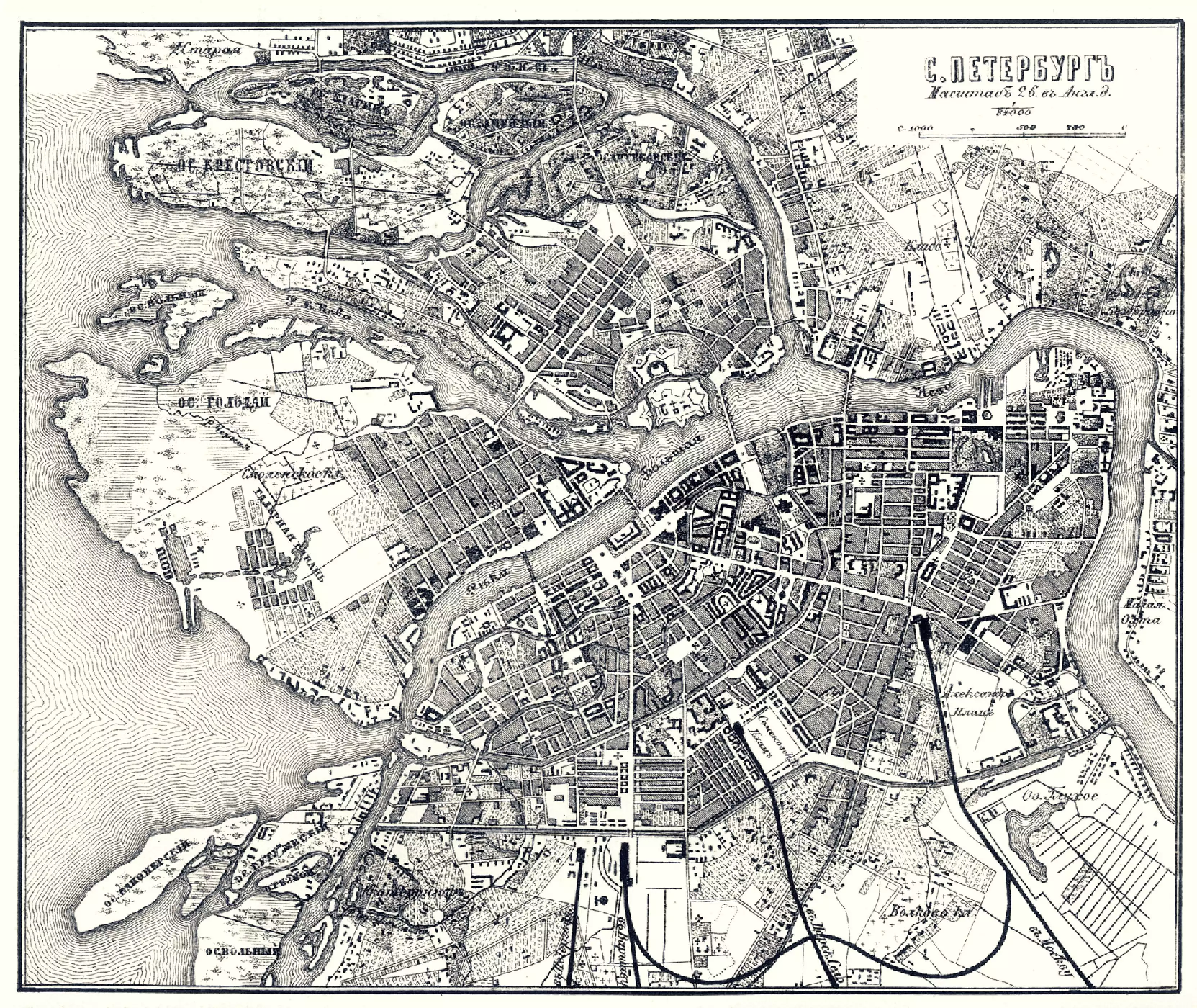 Карта Санкт-Петербурга. 1867 год. Из Путеводителя по железным дорогам России.