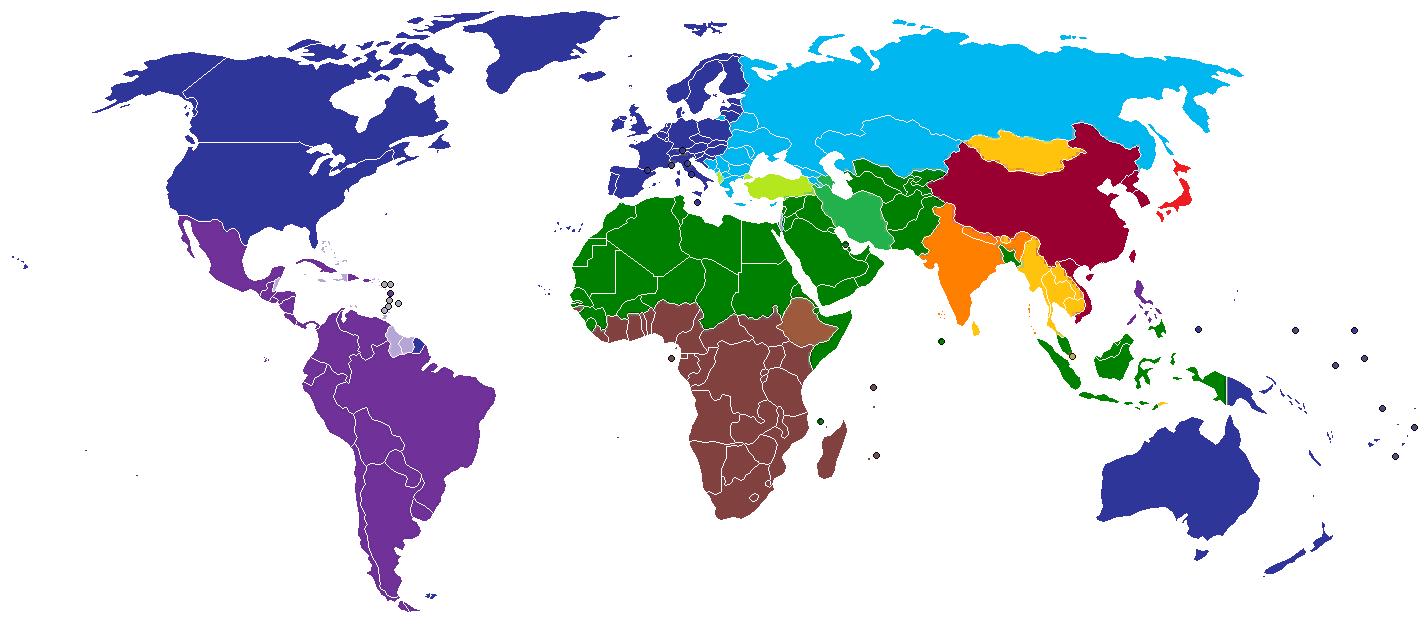 Карта этнокультурного разделения цивилизаций, построенная по концепции Хантингтона: западная культура (тёмно-синий цвет), латиноамериканская культура (фиолетовый цвет), японская культура (ярко-красный цвет), синская культура (тёмно-красный цвет), культура Индии (оранжевый цвет), исламская культура (зелёный цвет), православная культура (бирюзовый цвет), буддийская культура (жёлтый цвет) и африканская культура (коричневый цвет) (кликабельно)