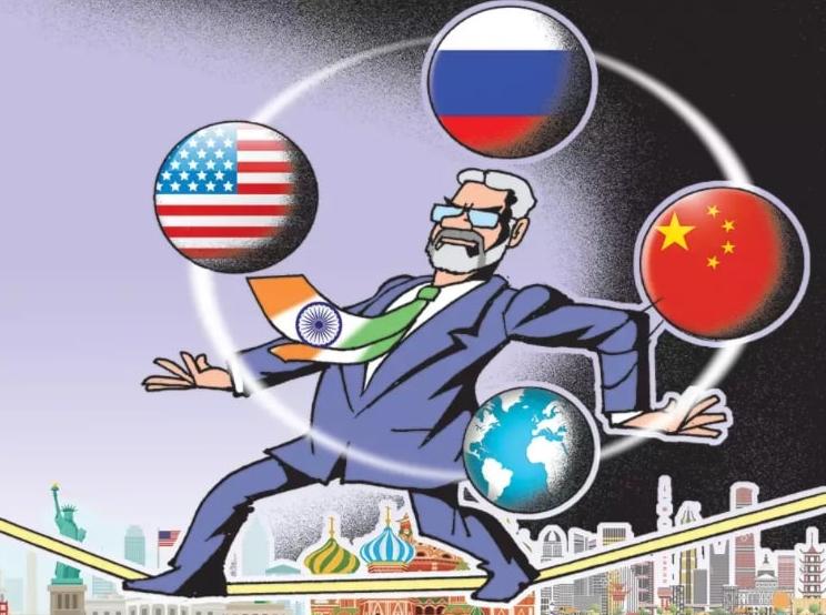 Моди идёт по канату и лихо жонглирует отношениями с геополитическими соперниками. Иллюстрация из Times of India