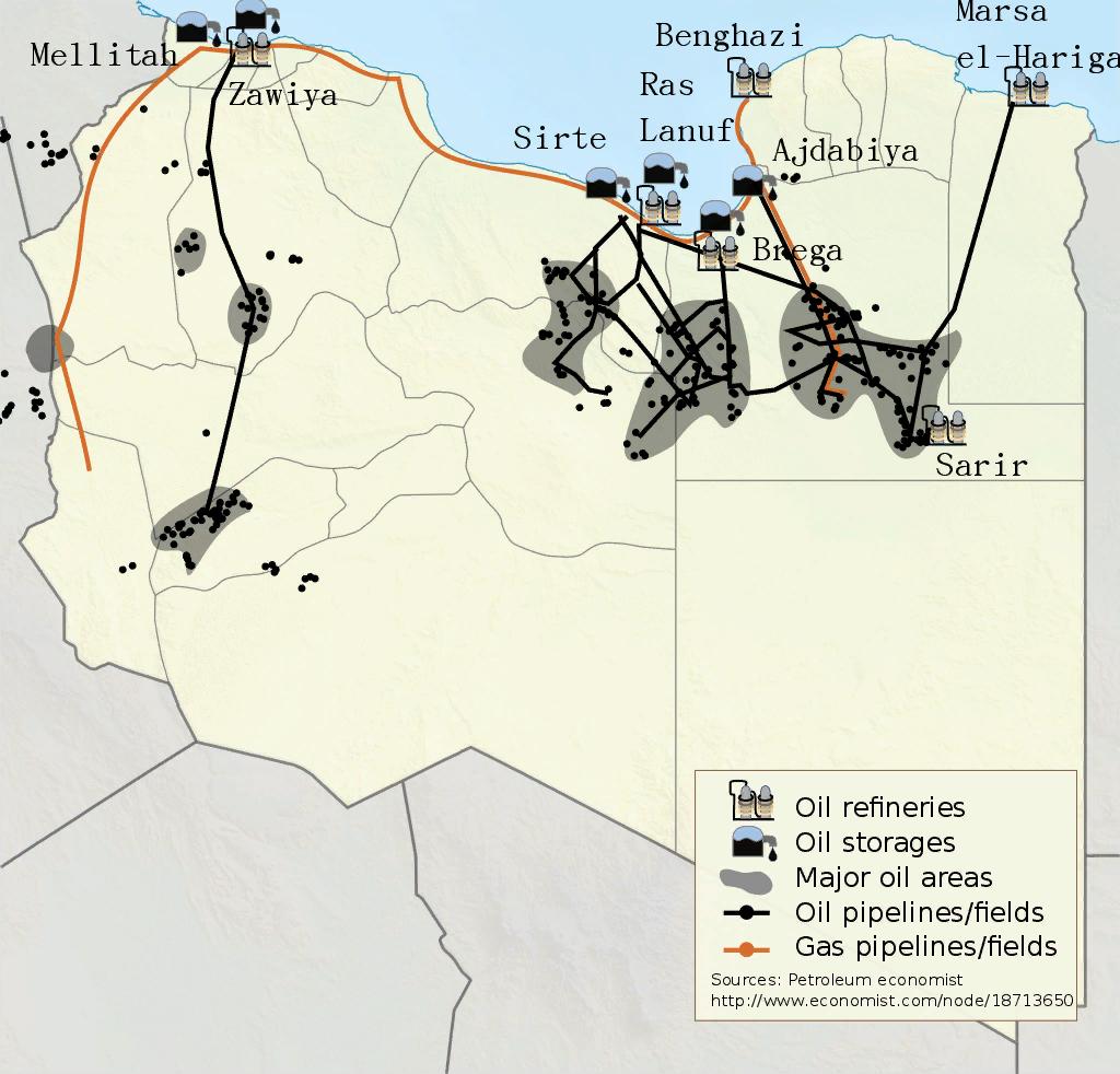 Карта нефтяных полей Ливии до 2012 года