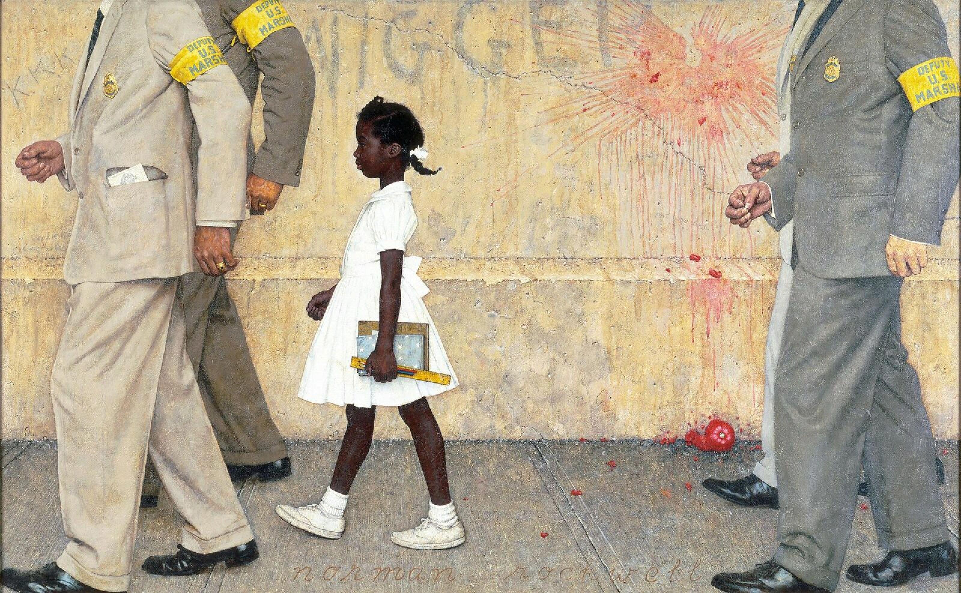 «Проблема, с которой мы все живём»*. Картина Нормана Роквелла считается культовой в «Движении за гражданские права чернокожих в США». Шестилетнюю негритянскую девочку Руби Бриджес из-за угрозы насилия над ней сопровождают четверо сотрудников Службы маршалов (приставов). Головы маршалов обрезаны по плечи, на стене видны надписи «ниггер» и «ККК». Белых протестующих не видно, так как зритель смотрит на происходящее с их точки зрения.
