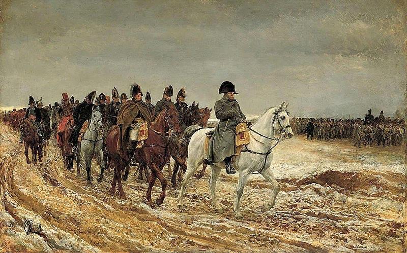 Жан-Луи Эрнест Мейссонье (1815—1891). «Военная кампания Франции 1814 года. Наполеон и его штаб после поражения при Лаоне». За Наполеоном следуют: маршал Ней (плащ на плечах), маршал Бертье, генерал Флао, незнакомец, падающий от усталости, затем генерал Друо, за Флао, возможно, генерал Гурго.