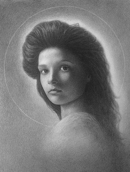 Портрет-икона.  Бумага, сухая кисть, 60х40