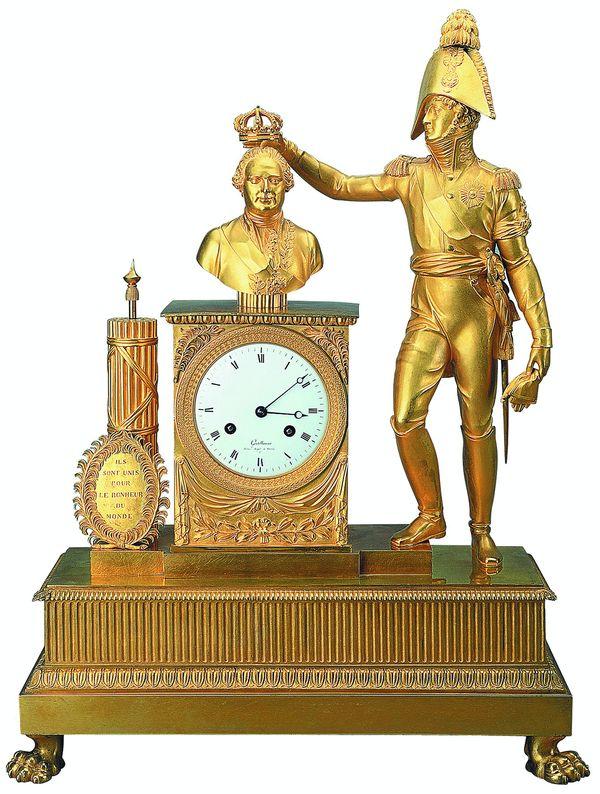 Часы Александр I венчает бюст Людовика XVIII
