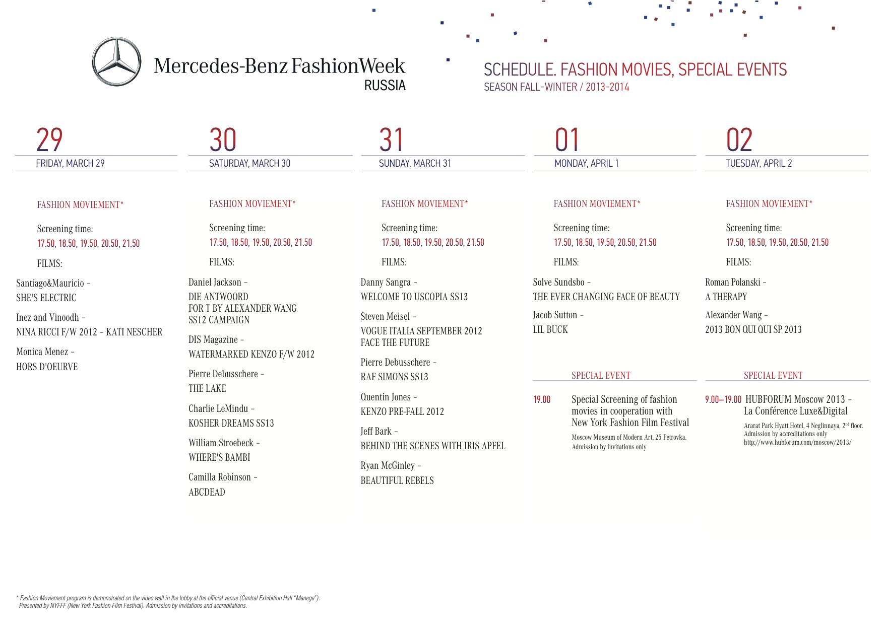 Mercedes-Benz fashion Week Russia Schedule 20132