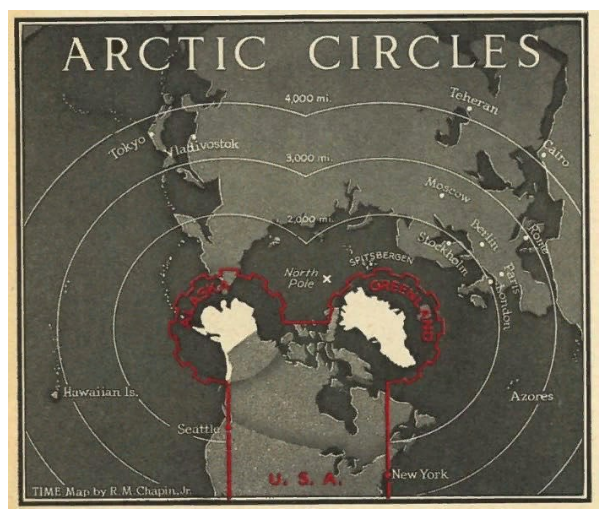 Для начала - картинка про Аляску, Гренландию... и дальности бомбардировщиков (карта 1947 г.)