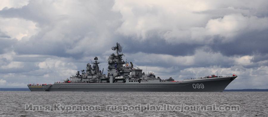 """Атомный ракетный крейсер """"Петр Великий"""" проекта 1144.2 в акватории Финского залива"""