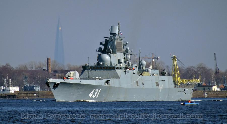 21 апреля 2019 года фрегат «Адмирал флота Касатонов» проекта 22350 вышел на заводские ходовые испытания